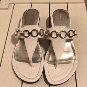 Marc Fisher white leather sandals
